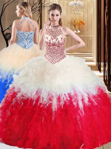 Luxurious White And Red 15th Birthday Dress Military Ball and Sweet 16 and Quinceanera and For with Beading and Ruffles Halter Top Sleeveless Lace Up