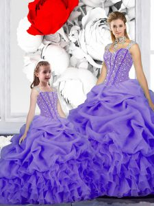 Lavender Straps Neckline Beading and Ruffles and Pick Ups Sweet 16 Quinceanera Dress Sleeveless Lace Up