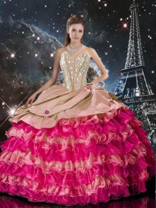 Flare Sweetheart Sleeveless Lace Up Quince Ball Gowns Multi-color Organza