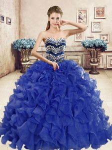 Colorful Organza Sweetheart Sleeveless Lace Up Beading and Ruffles Quinceanera Dresses in Blue