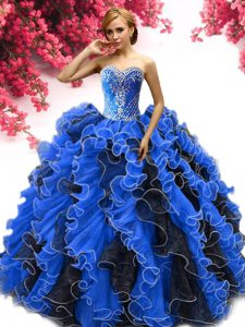Organza Sweetheart Sleeveless Lace Up Beading and Ruffles Quinceanera Dress in Blue And Black