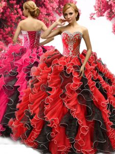 Modest Floor Length Ball Gowns Sleeveless Red And Black Sweet 16 Quinceanera Dress Lace Up