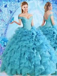 Off the Shoulder Sleeveless Floor Length Beading and Ruffles Lace Up Sweet 16 Dress with Baby Blue