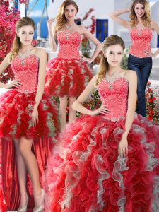 Amazing Four Piece Floor Length White And Red 15 Quinceanera Dress Organza Sleeveless Beading