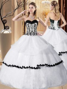 Perfect White Organza Lace Up Sweetheart Sleeveless Floor Length Quinceanera Gowns Embroidery and Ruffled Layers
