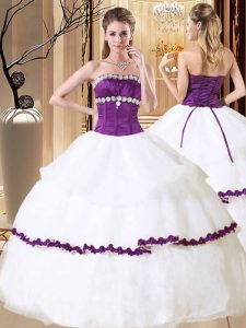White Strapless Lace Up Beading and Embroidery and Ruffled Layers 15th Birthday Dress Sleeveless