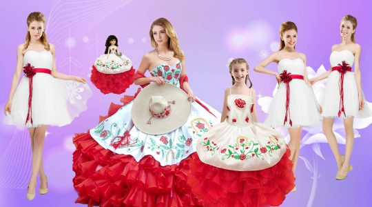 Super Sweetheart Sleeveless Lace Up Quinceanera Dress White And Red Organza