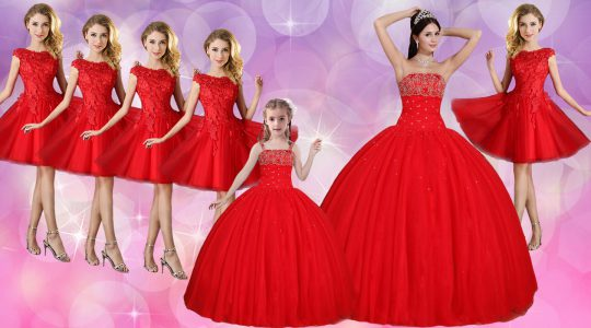 Sumptuous Red Sleeveless Floor Length Beading Lace Up Sweet 16 Dress