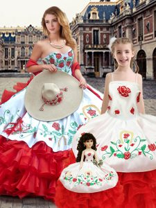 Elegant Embroidery Quinceanera Dress White And Red Lace Up Sleeveless Floor Length