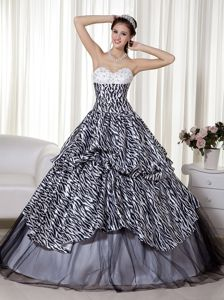 Luxurious A-line Sweetheart Zebra Beaded Ruched Quinceaneras Dress