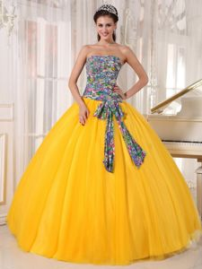 Tulle and Printing Yellow Quinceanera Gown Dresses Sequins Accent
