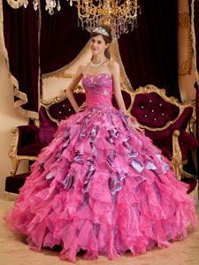Hot Pink Sweetheart Beading Leopard Dress For Quinceanera in Clay