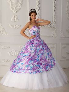A-line Sweetheart Tulle Quince Dresses in Capshaw with Appliques Decorate