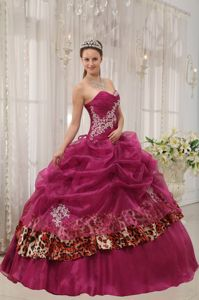 Burgundy Sweetheart Zebra or Leopard Appliques Quinceaneras Dress in Boaz