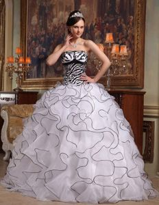 White Strapless Zebra Quinceanera Gown Dress in Birmingham Ruffles Accent