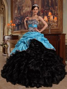 Aqua Blue and Black Sweetheart Pick-ups for Quinceanera Gown in Beatrice