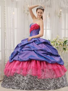 Pick-ups and Ruffles Accent Quinceanera Dresses in Atmore Zebra Style