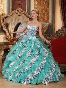 Printing Ruffles Accent Multi-color Sweetheart Dress for Quince in Arlington