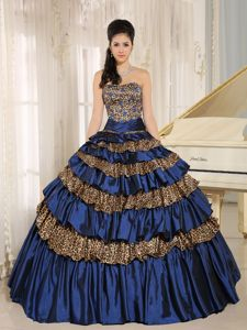 Navy Blue Leopard Ruffled Layers and Appliques With Beading Sweet 16 Dress