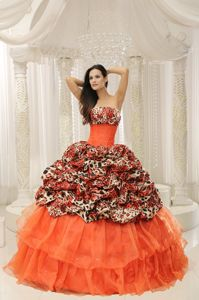 Leopard Beading for Quinceaneras Dress in Allgood with Pick-ups Decorate