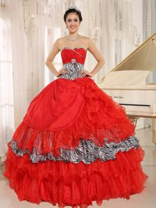 Zebra Red Sweetheart Quinces Dresses in Akron Ruffles and Beading Accent
