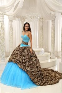 Chic Multi-color Dress for Quince with Pick Ups Leopard and Court Train